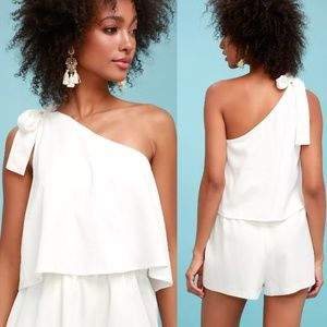 Fall Must Have LuLus White One-Shoulder Romper S